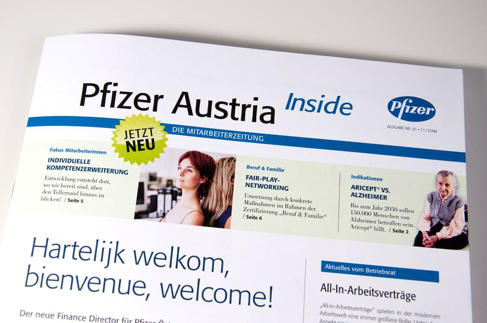 Pfizer Magazin Editorial Design C21