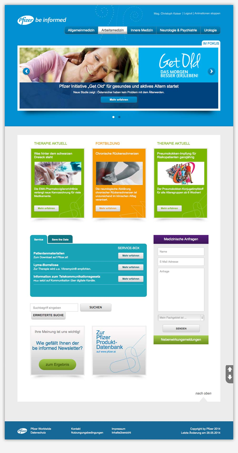 Pfizer be informed Newsletter Plattform C21 new media design