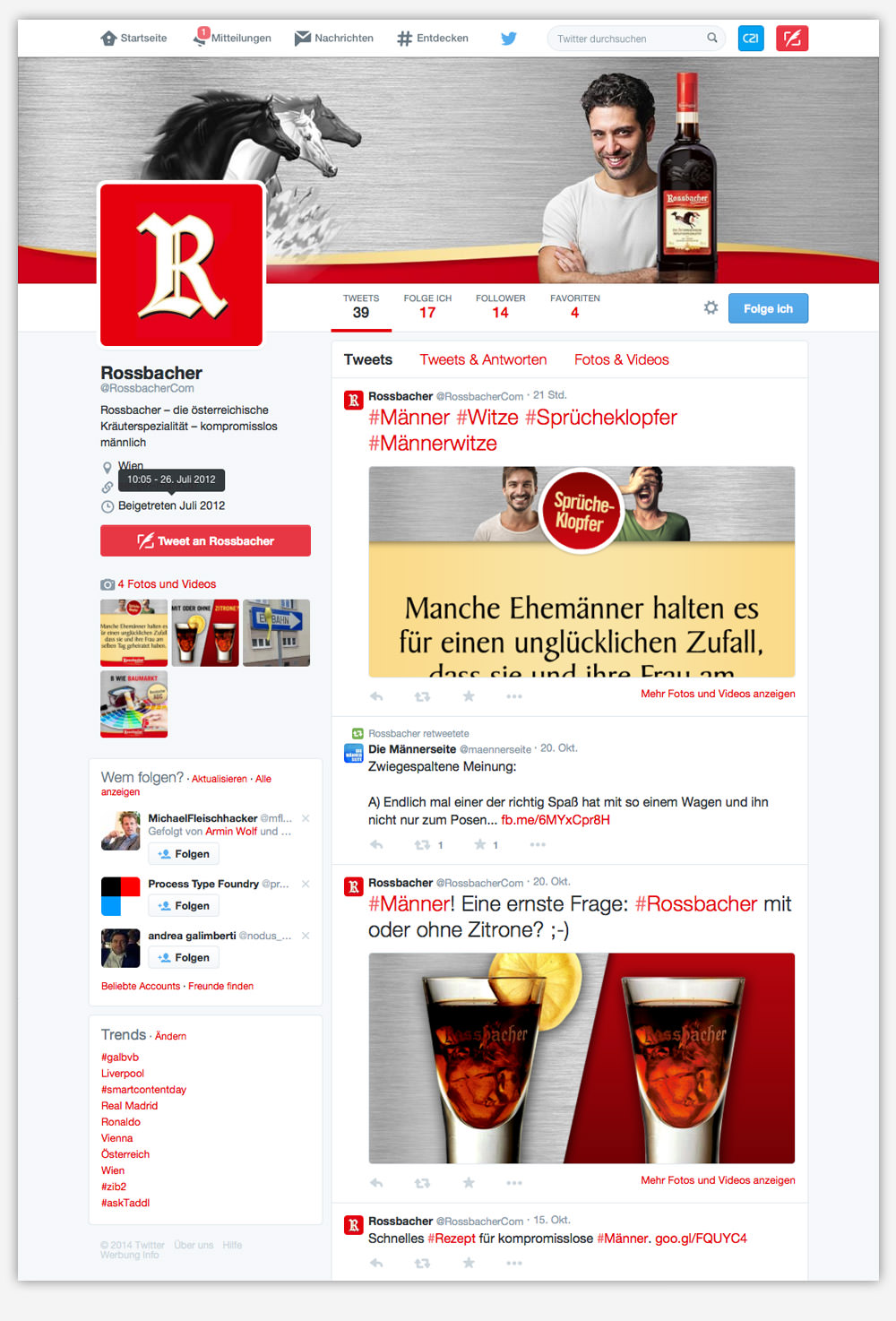C21 Rossbacher Website Webdesign Social Media Facebook Twitter Instagram YouTube