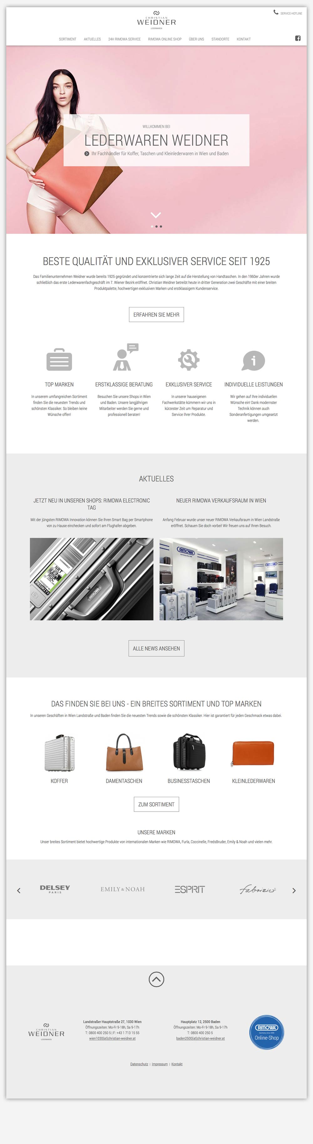 Lederwaren Weidner Website C21 new media design Wien Online Agentur Webagentur Digitalagentur