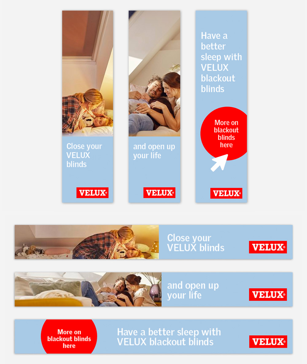 Velux International Kampagne Blackout Blinds Social-Media Webbanner Landingpage C21 new media online Agentur wien