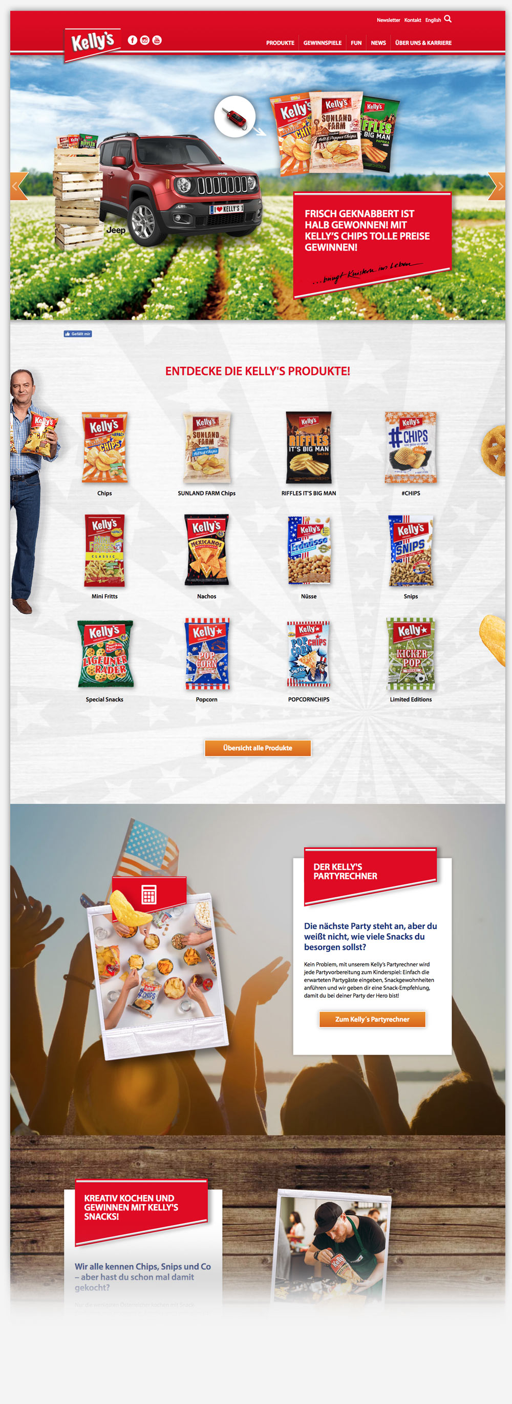 Kellys Chips Snacks Website Relaunch C21 new media design Online-Agentur Digitalagentur Webagentur Wien