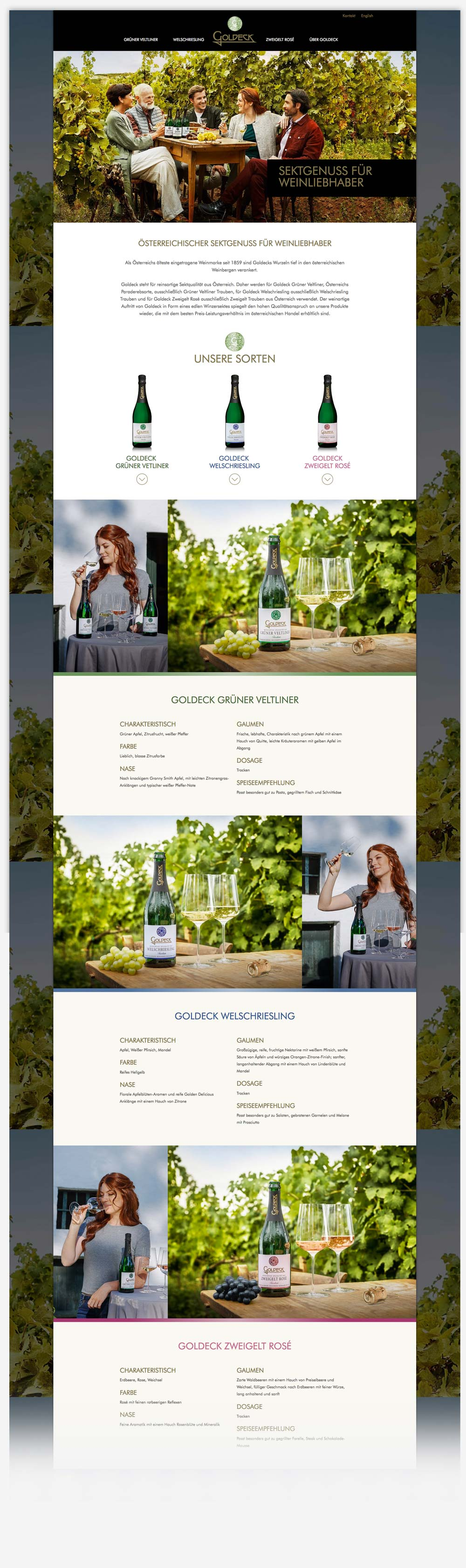 C21 new media design Online Agentur Wien Referenz Goldeck Sekt Website